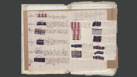 textile samples which were ordered by the Danish-Guinean Company on the Gold Coast from the Danish colony Tranquebar today Tharangambadi, India and traded for enslaved Africans in Accra. The Danish National Archives Dansk-Guinesisk Kompagni, Breve fra Direktionen 1705-1722, 390
