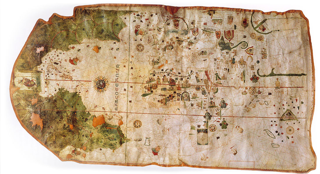 Mappa mundi; map by Cantabrian cartographer and sailor Juan de la Cosa, 1500. De la Cosa was among the crew on Columbus' first voyage to the Indies. The map is the first to include an undisputed representation of the Americas.